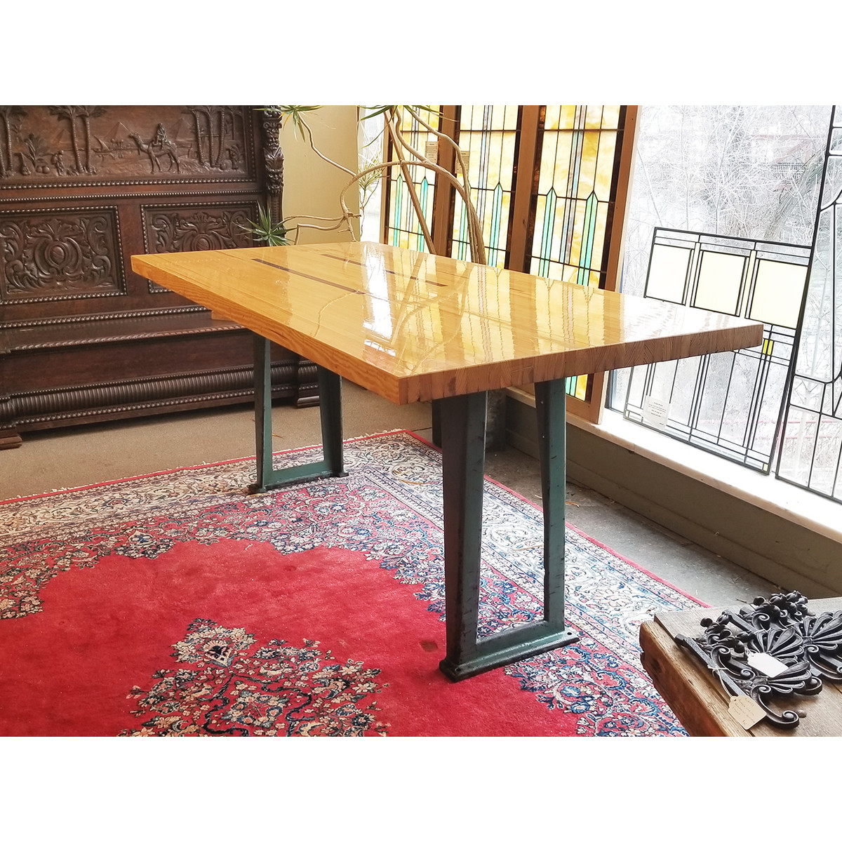 """F20013 - Custom Industrial """"Bowling Alley"""" Topped Table"""
