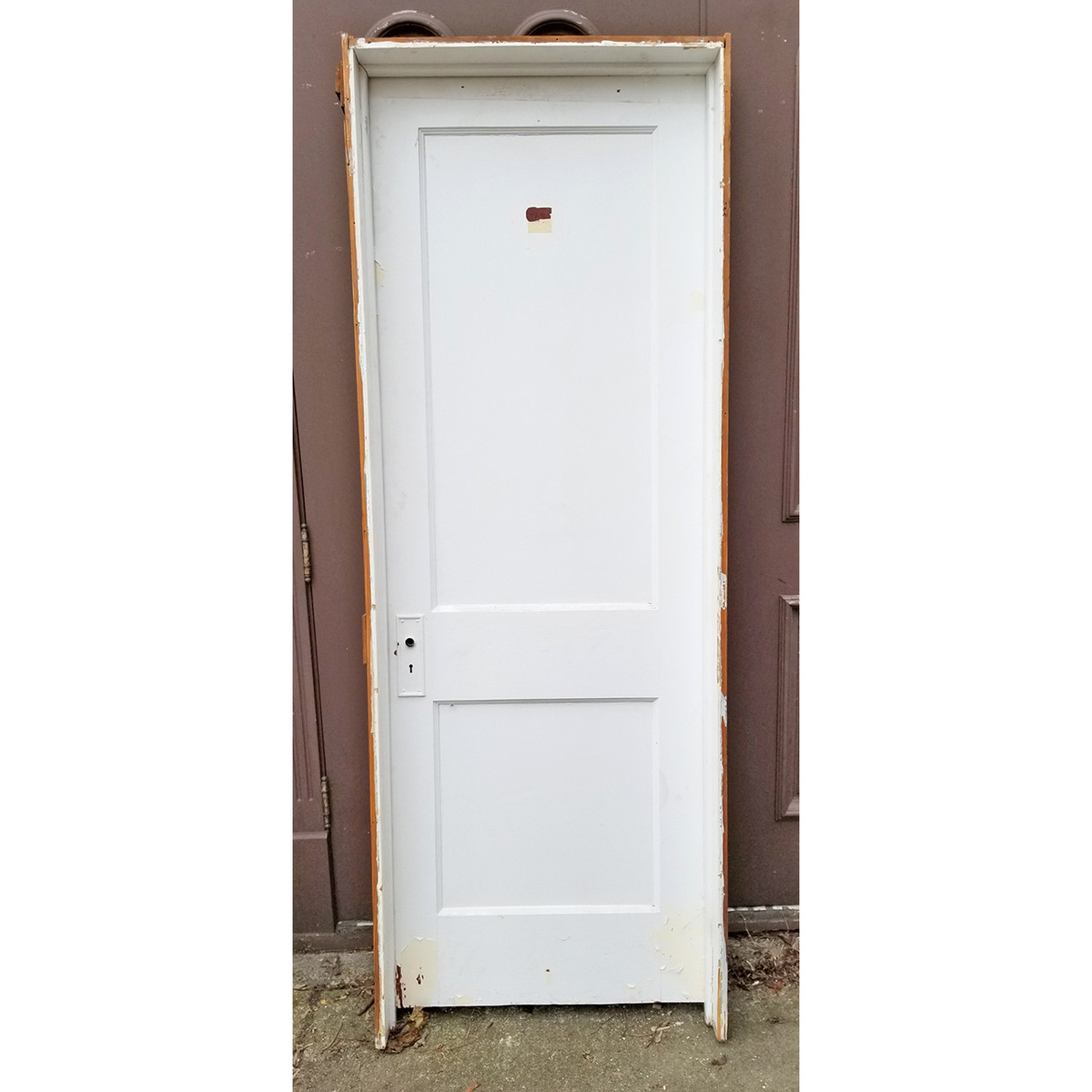 "D20008 - ANTIQUE TWO FLAT PANEL INTERIOR DOOR with Jamb 28"" x 79"""
