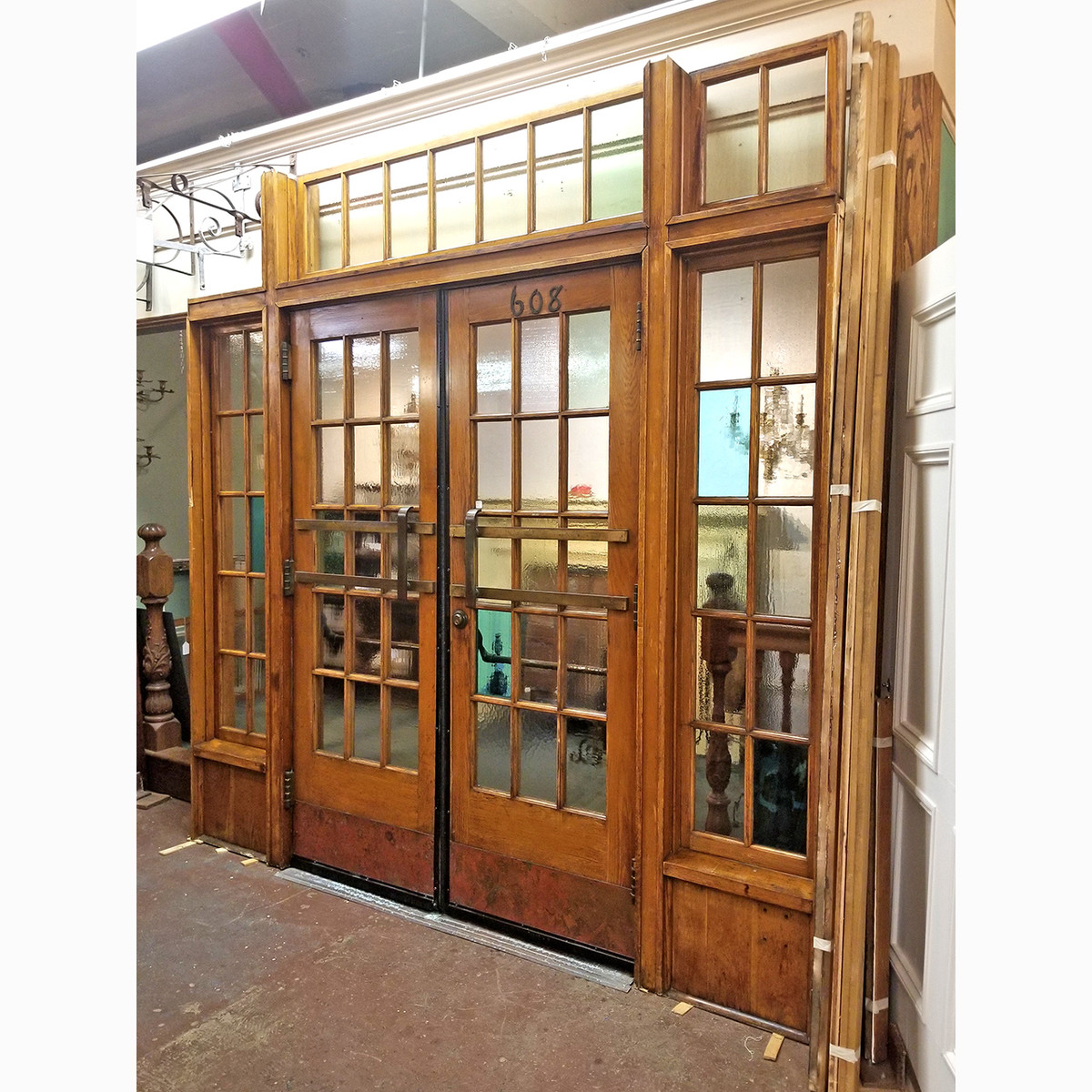 "D20035 - Vintage Exterior Jamb Unit and Pair of Doors 104"" x 105-1/2"""
