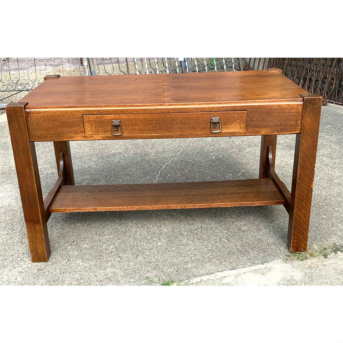 F20052 - Antique Arts & Crafts Library Table/Desk