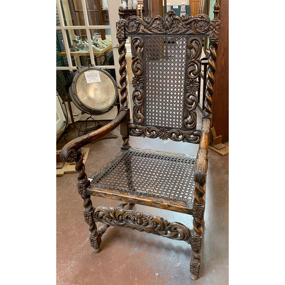 F20120 - Antique Carved Oak Arm Chair