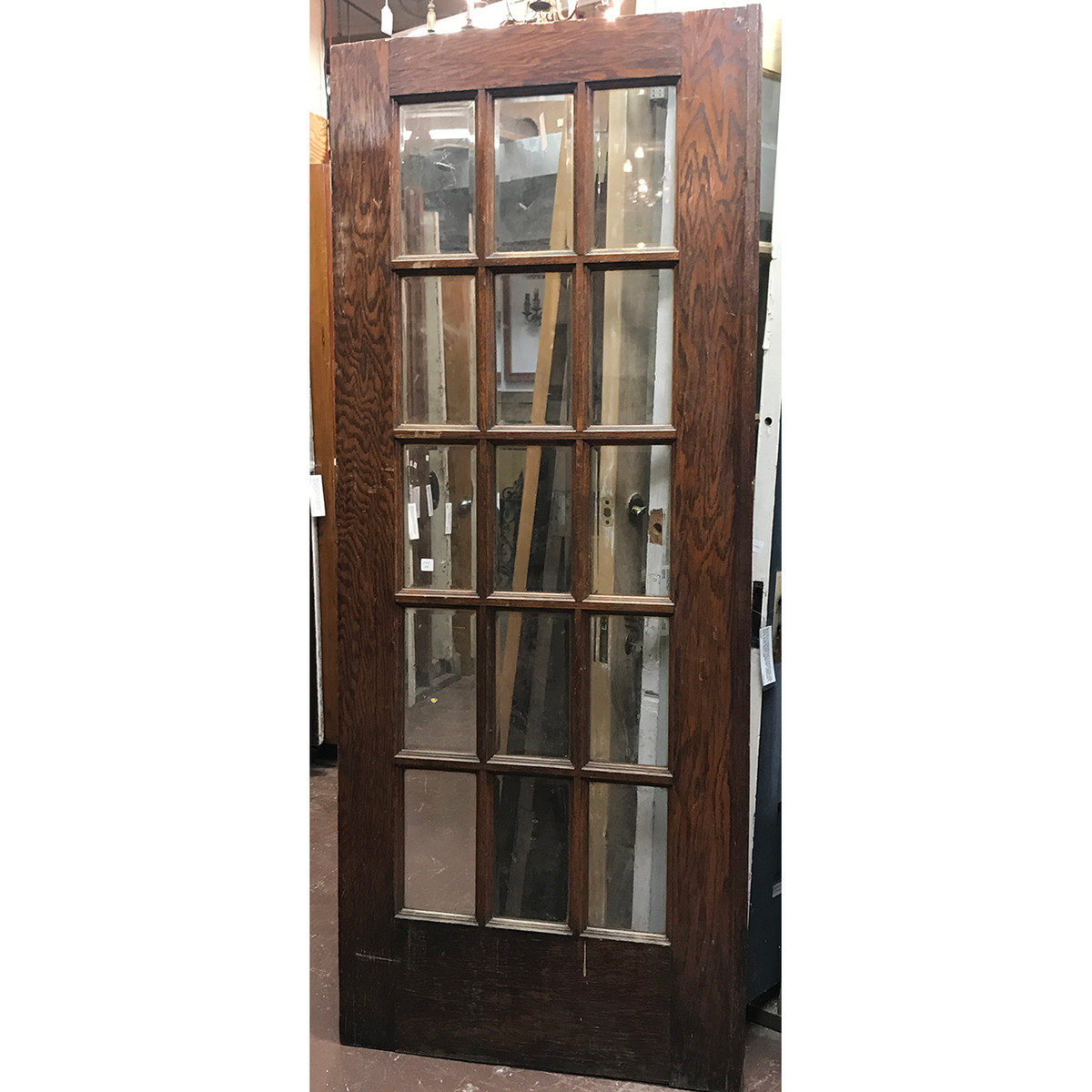 "D20126 - Antique Interior French Door with Beveled Glass 32"" x 79-1/4"""