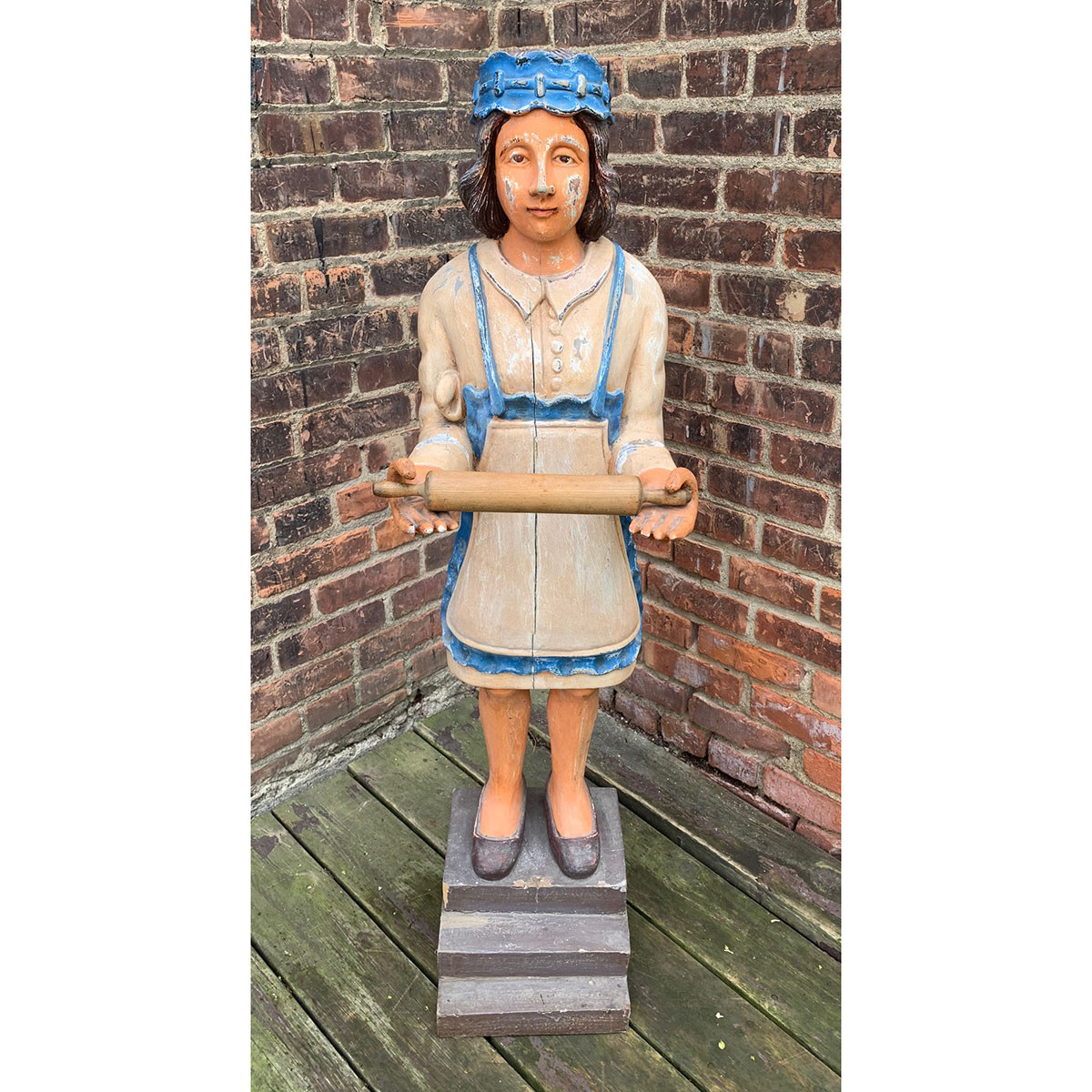 A21065 - Antique Wood Carved Woman Advertising Display