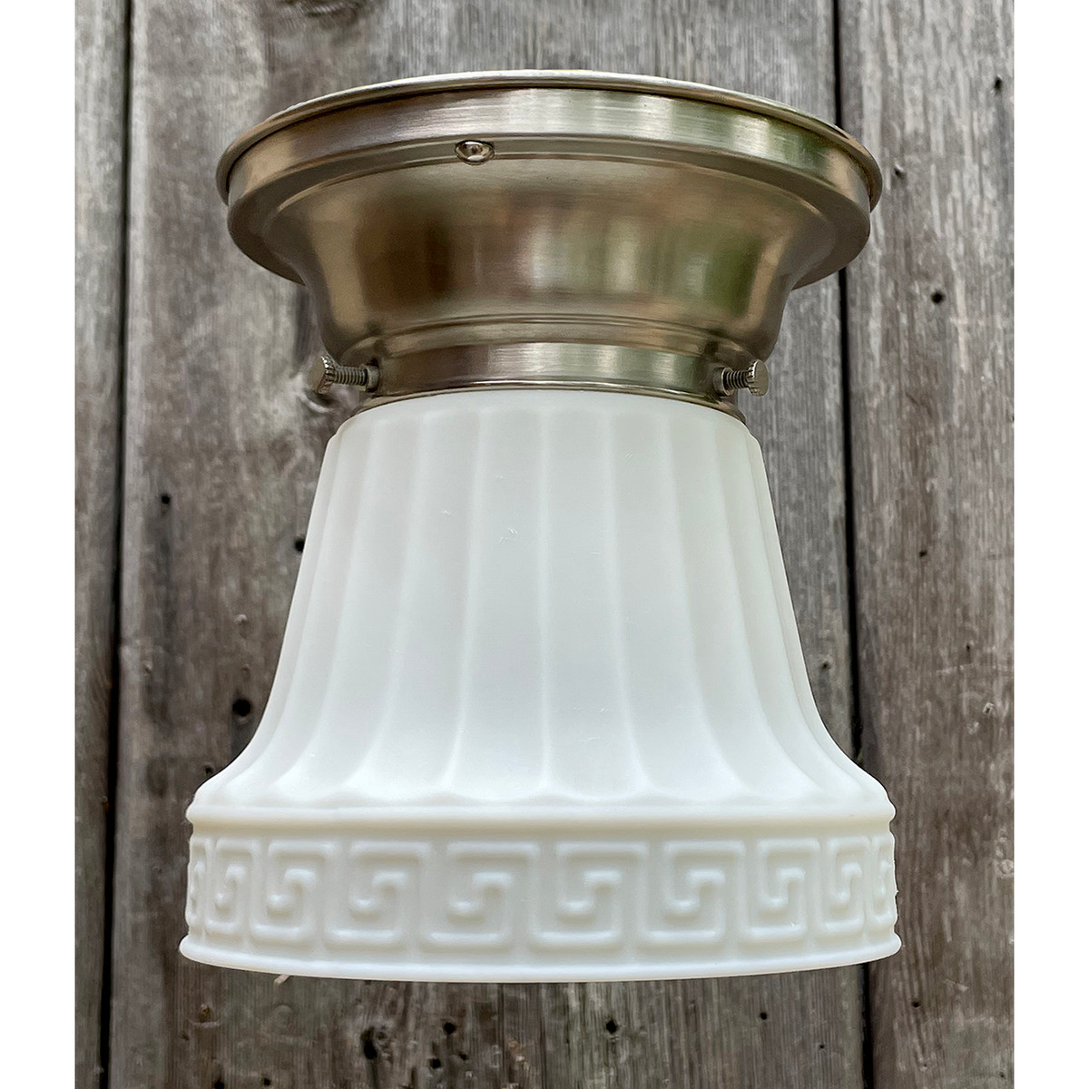 L21166 - Antique Neoclassic Bell Shade on Custom Nickel Fitter