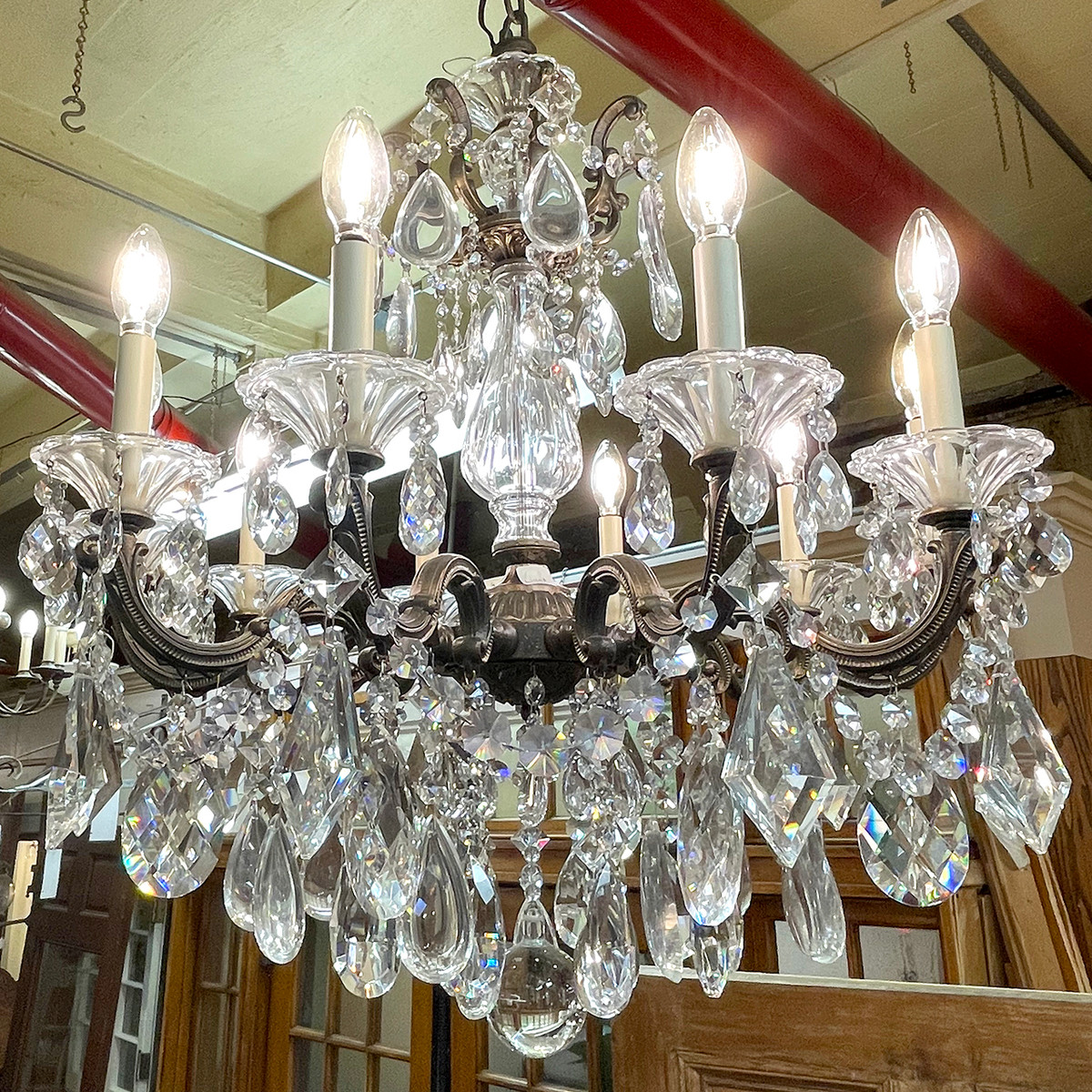 L21193 - Contemporary Cast Brass and Crystal Fixture