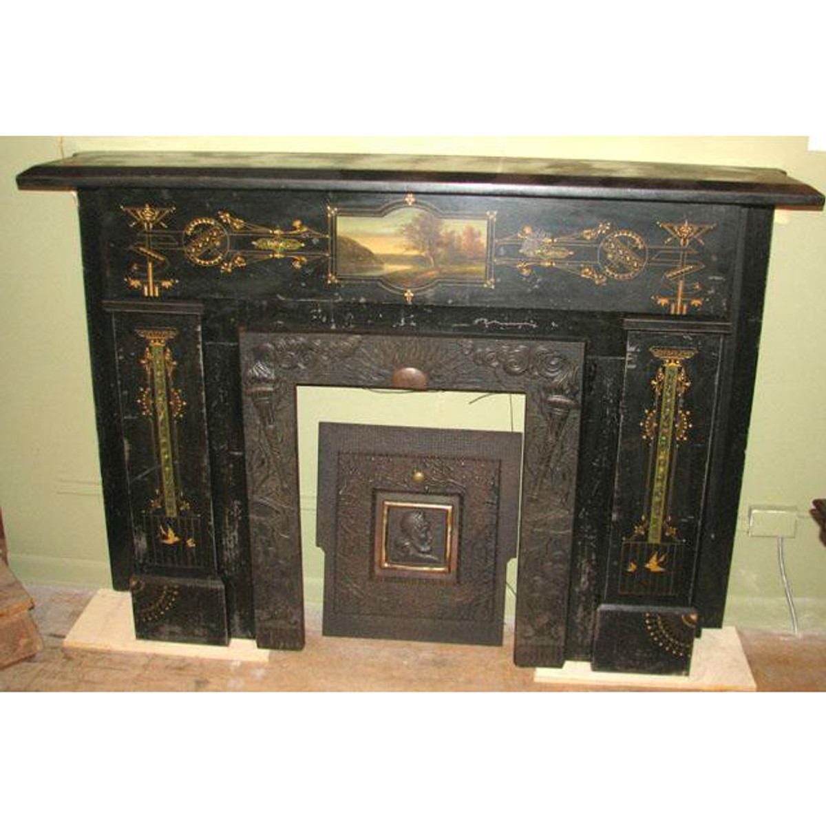 M11009 - Amazing Antique Hand Painted Slate Half Mantel