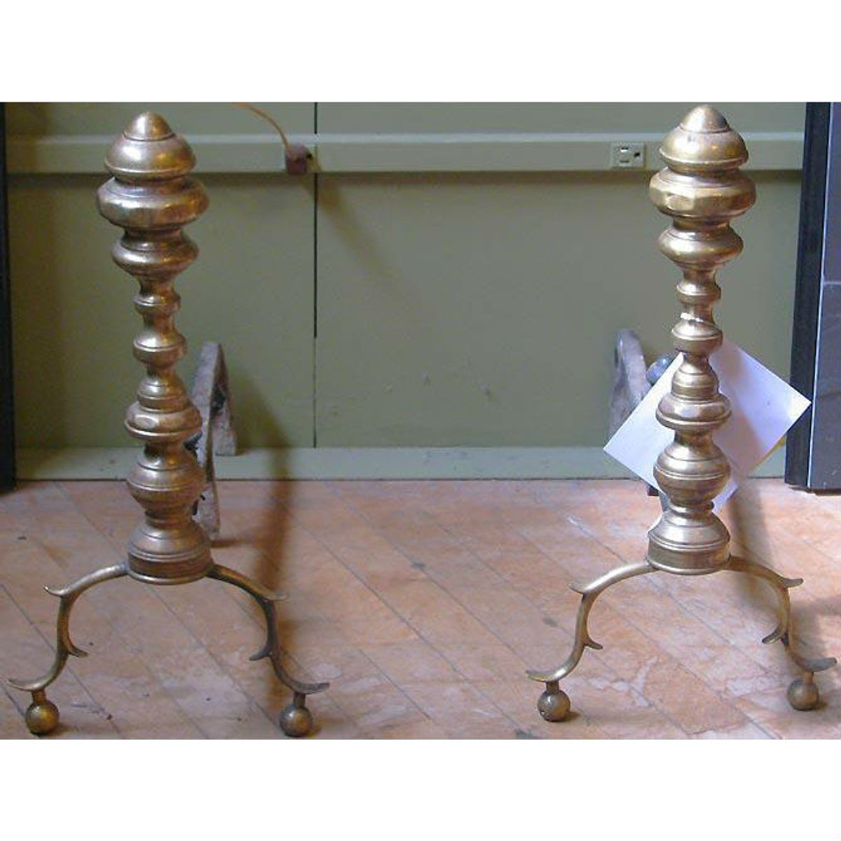 806135 - Pair of Antique Colonial Revival Andirons