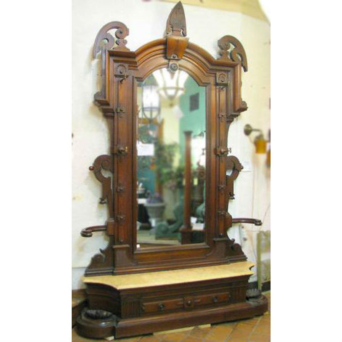 F10053 -  Antique Renaissance Revival Hall Mirror with Marble Stand