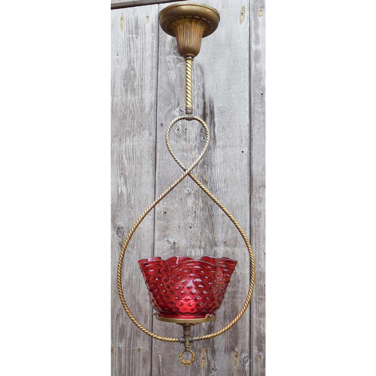 606329 - Antique Victorian Gas Ceiling Light Fixture with Cranberry Hobnail Glass