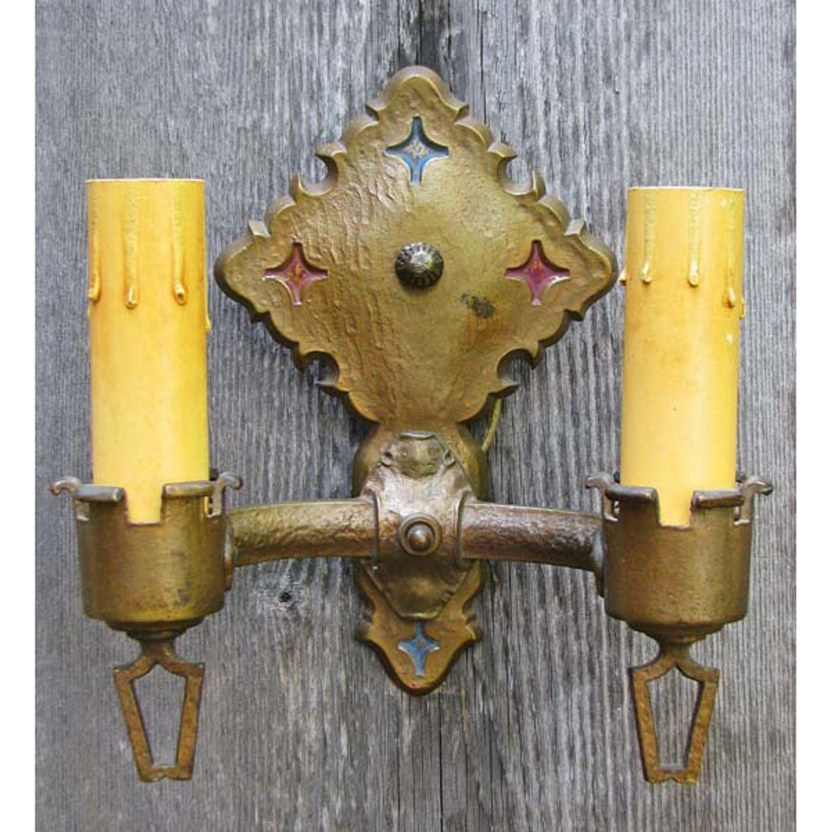 609424 - Antique Tudor Revival Double Candle Arm Wall Sconce