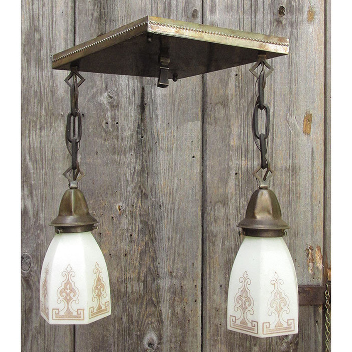 609503 - Antique Arts and Crafts Two Light Ceiling Fixture