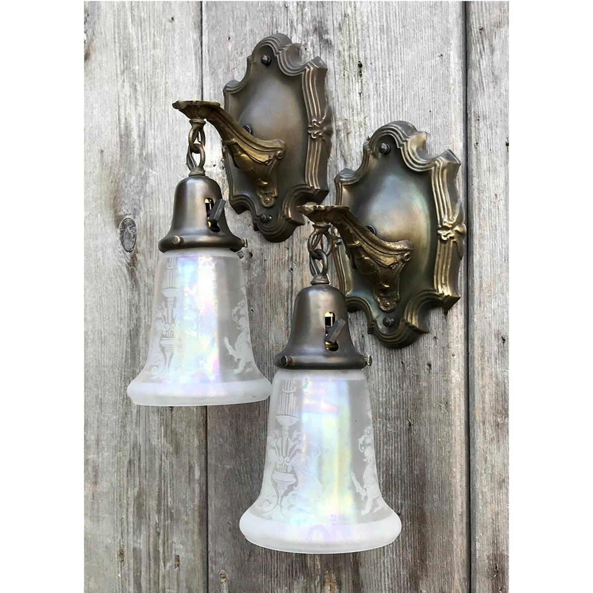 610026 - Pair of Antique Sconces with Griffin Shades