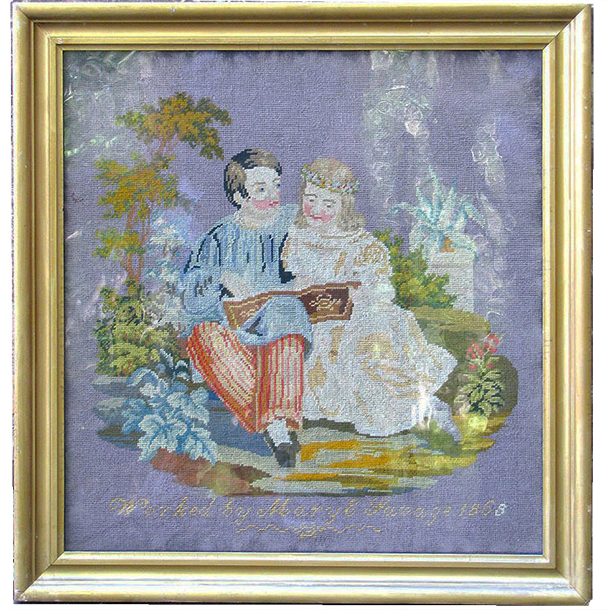 A12043 - Antique Framed Victorian Needlepoint