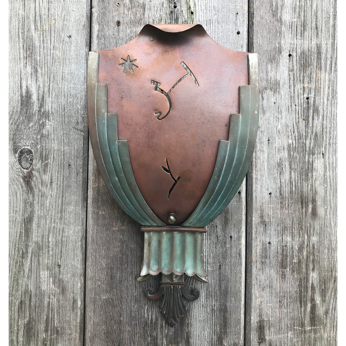L10770 - Antique Art Deco Mixed Metal Theater Wall Sconce