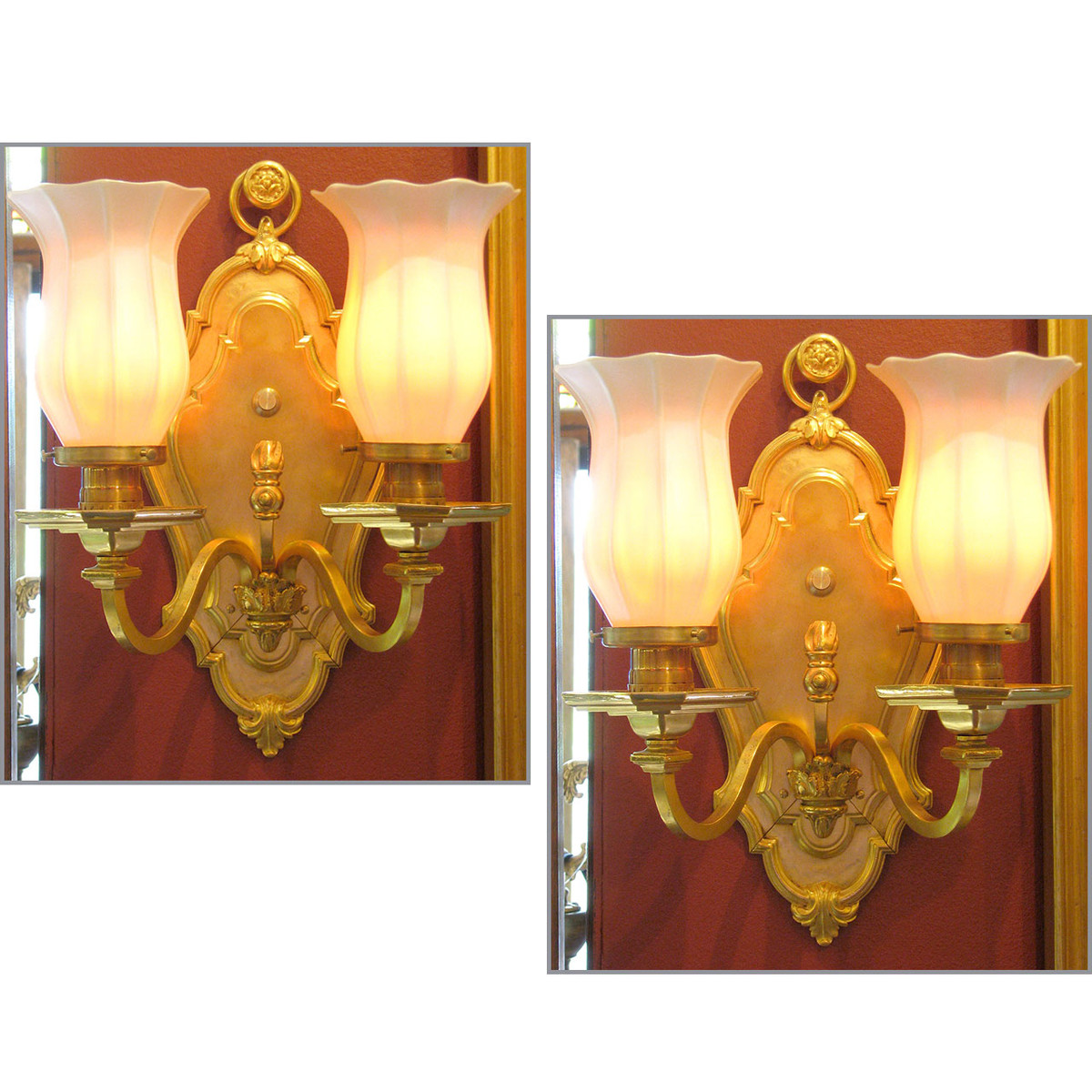 L12119 - Pair of Antique Double Arm Wall Sconces with Art Glass