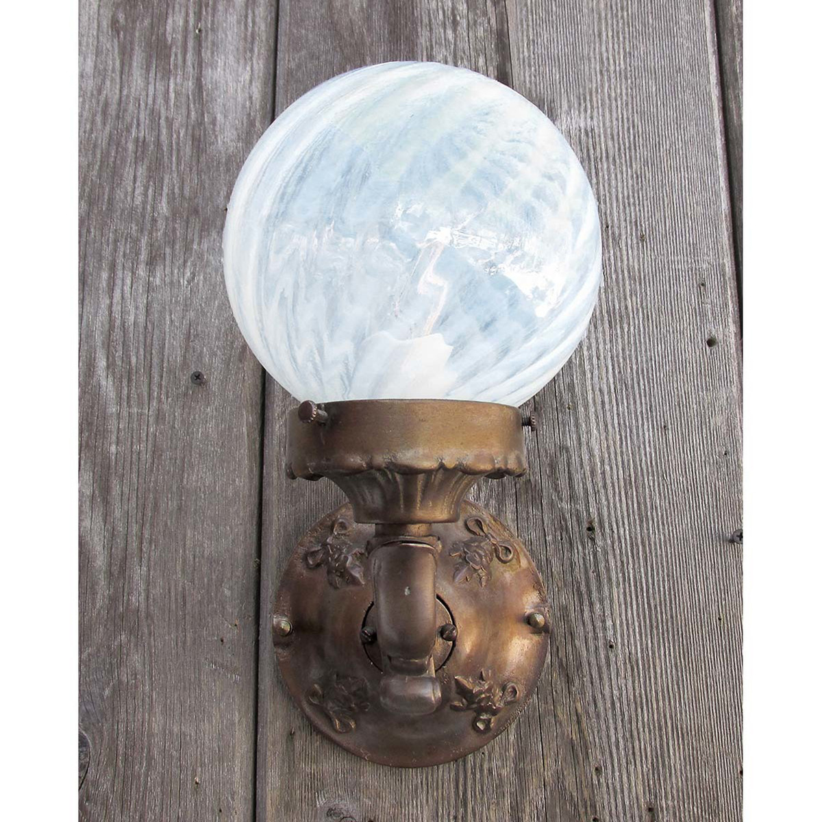 L12248 - Antique Exterior Wall Sconce with Vintage Globe