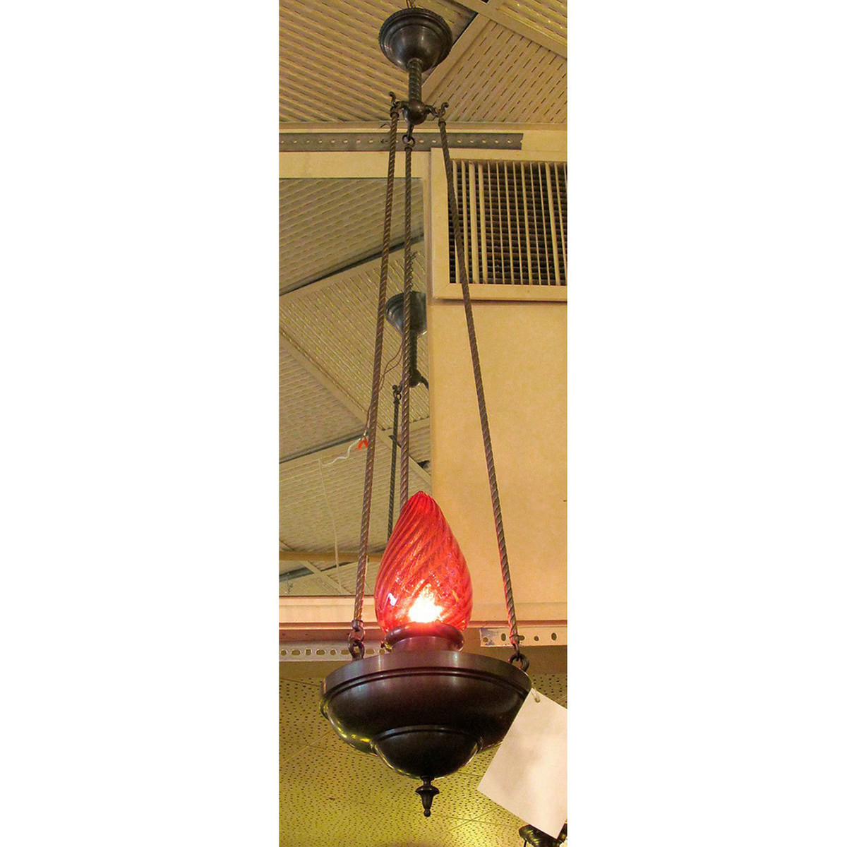 L13061 - Antique Aladdin Style Fixture with Cranberry Glass Shade