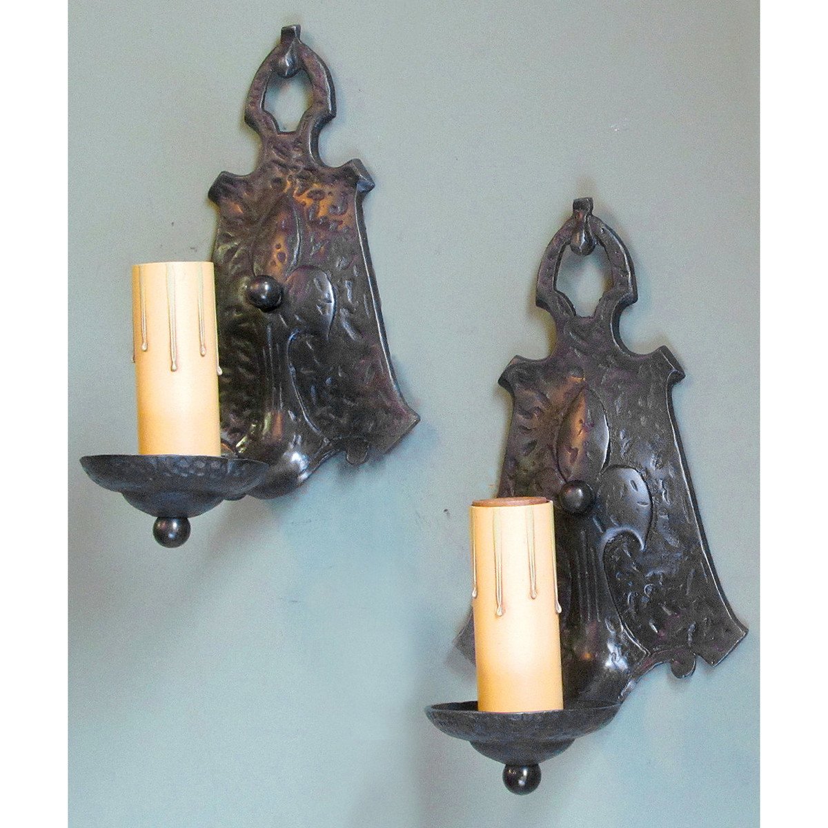 L13163 - Antique Tudor Revival Style Candle Sconces