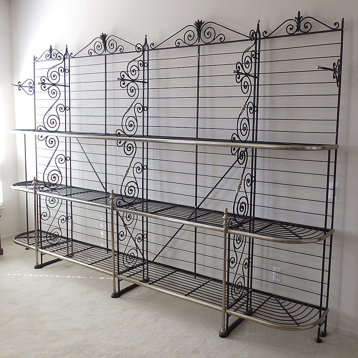 F14028 - Antique Cast Iron and Nickel Oversize French Bakers Rack