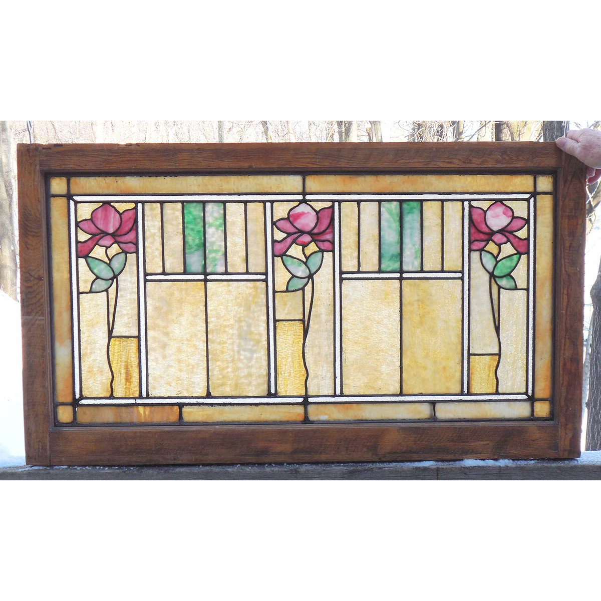 G14020 - Antique Arts and Crafts Stained Glass Window