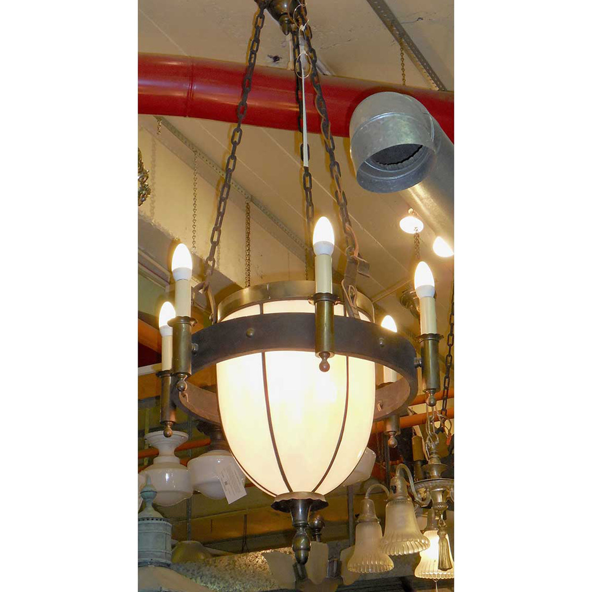L14175 - Antique Revival Period Bent Panel and Candle Hanging Fixture - Unrestored