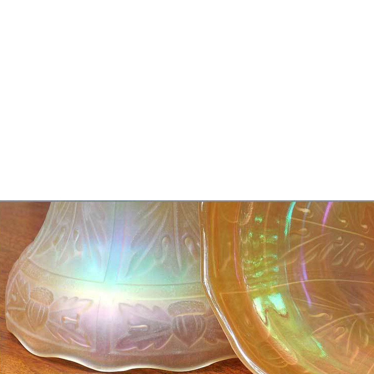 L14240 - Pair of Antique Carnival Glass Shades