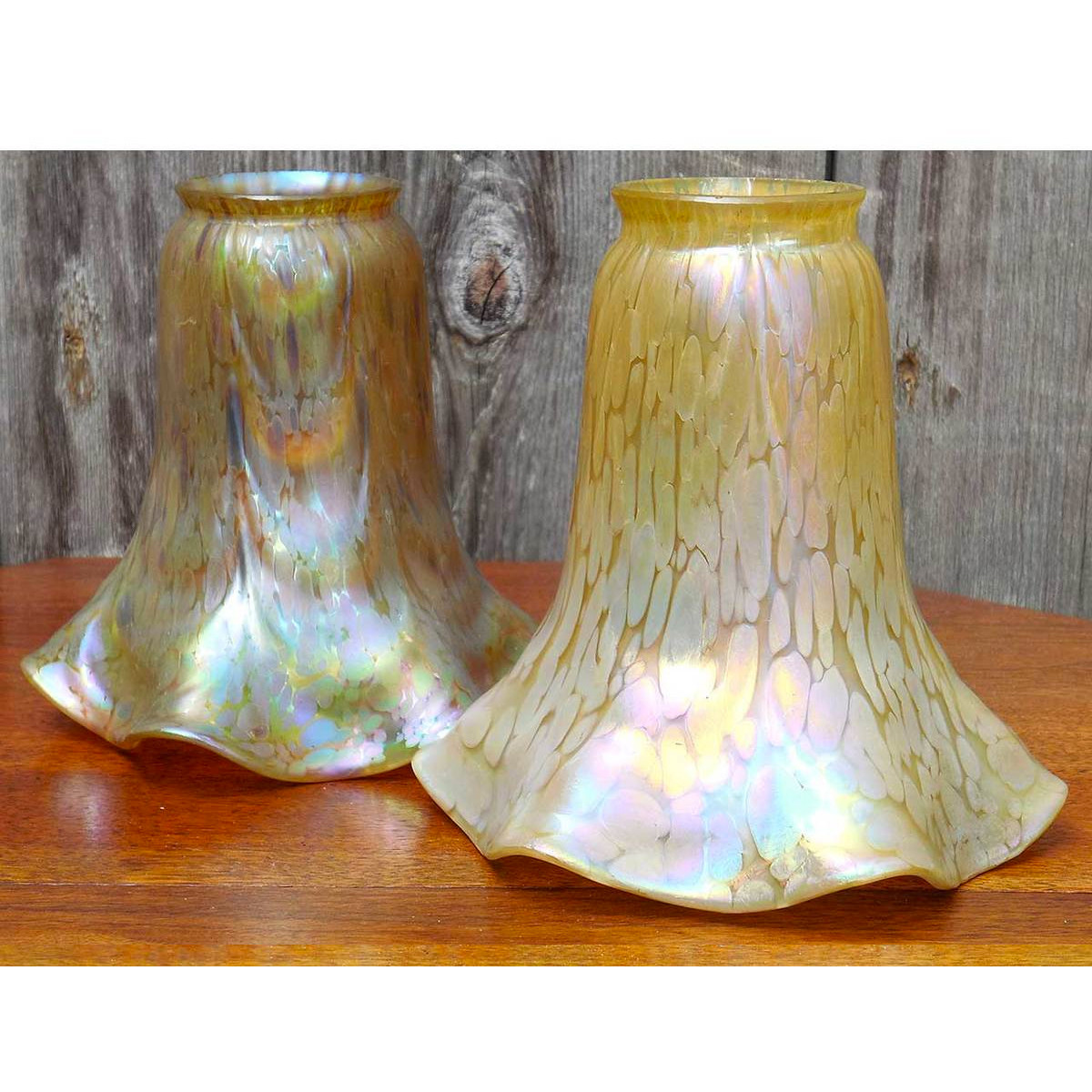 L14247 - Pair of Antique Loetz Art Glass Shades