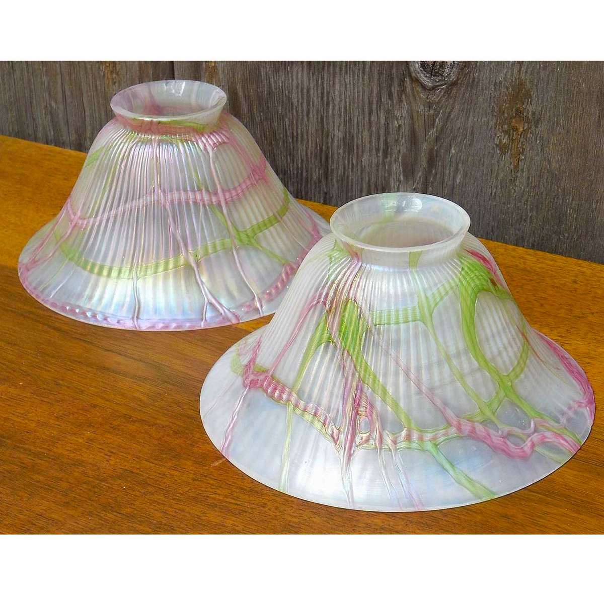 L14248 - Pair of Antique Loetz Art Glass Shades