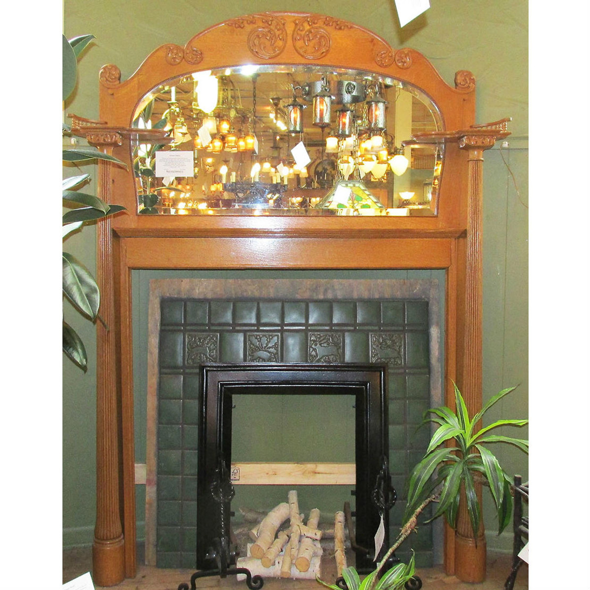 M14035 - Antique Colonial Revival Quartersawn Oak Full Mantel
