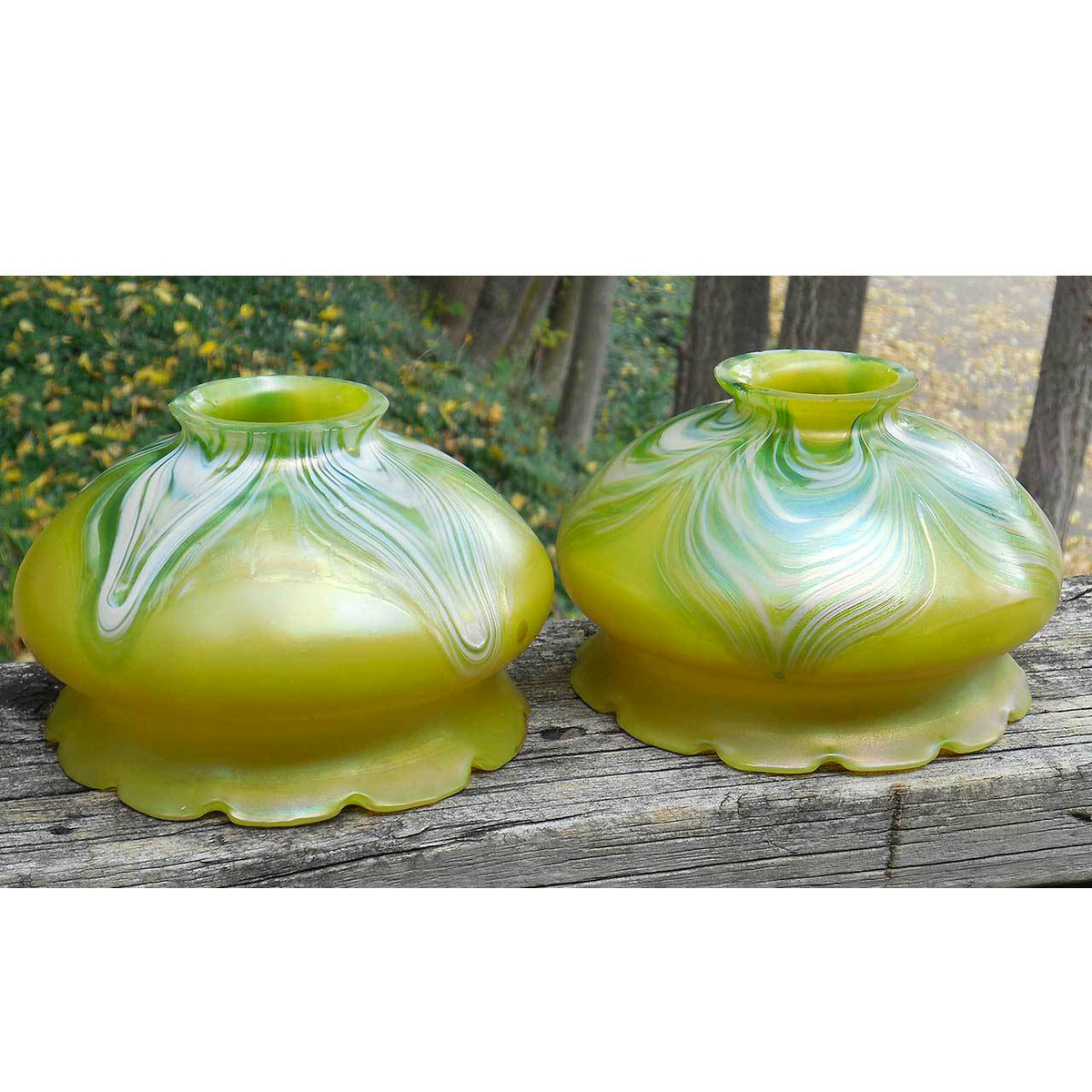 L14250 - Pair of Antique Loetz Art Glass Shades