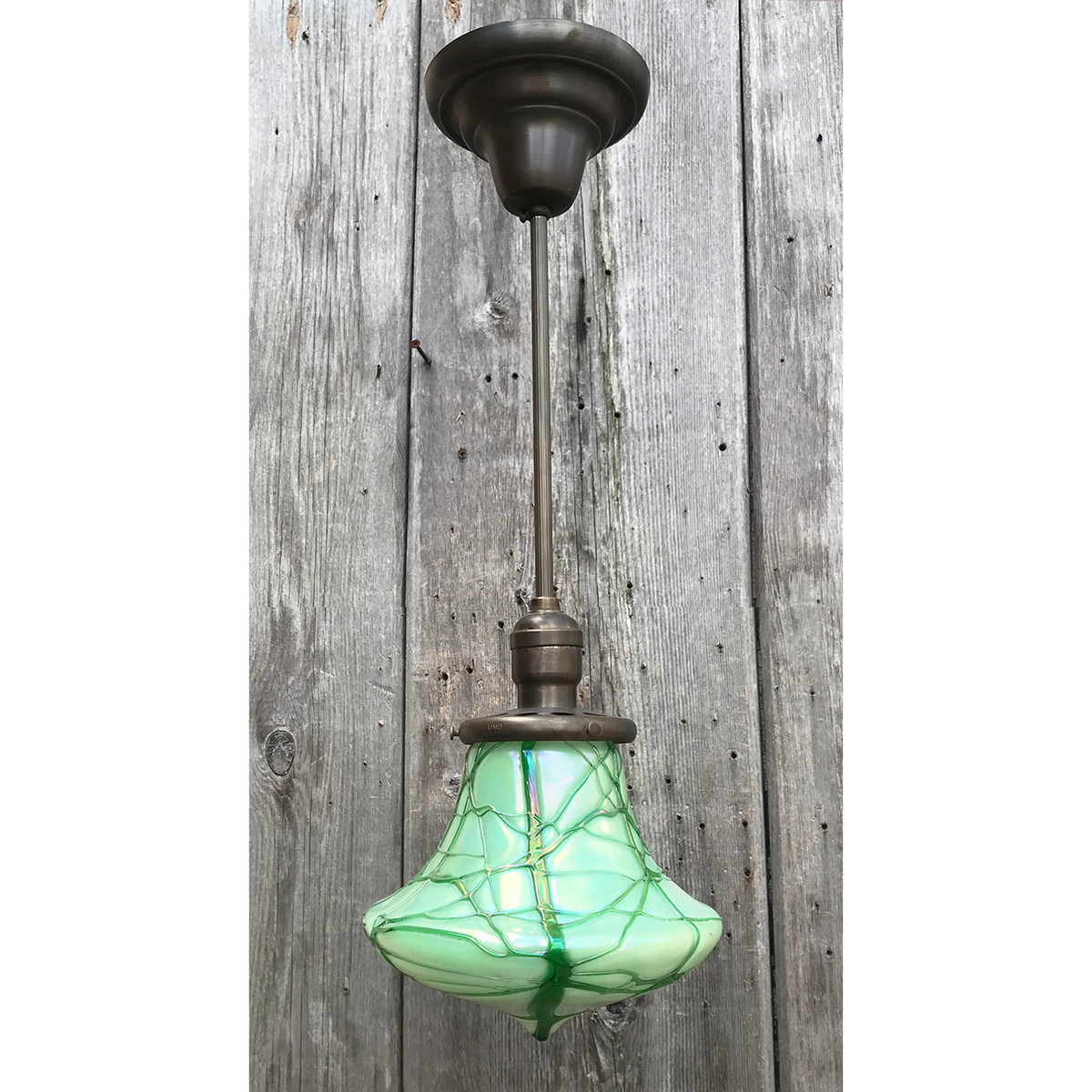 L14288 - Antique  Pendant Fixture with Art Glass