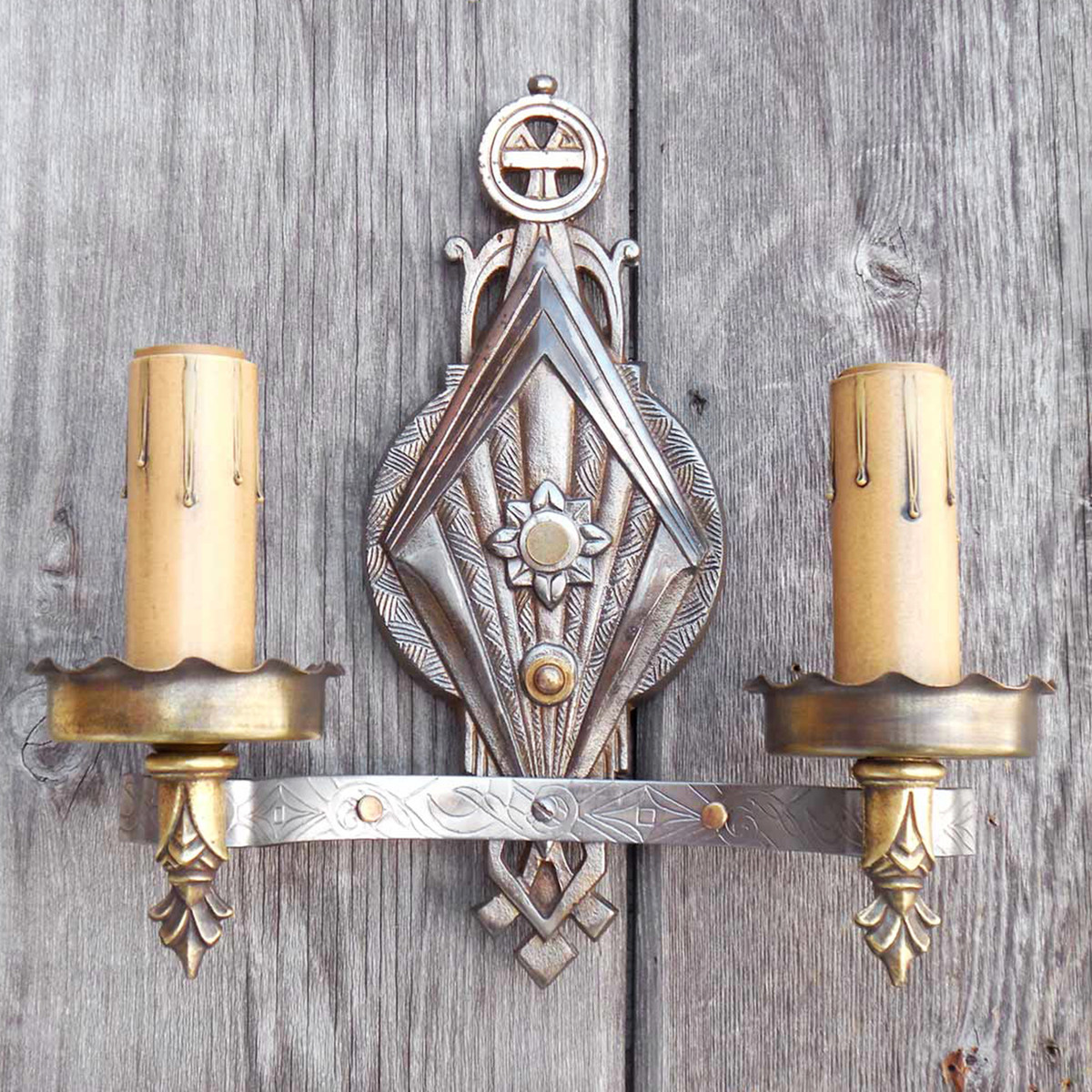 L15030 - Antique Art Deco Double Arm Candle Sconce