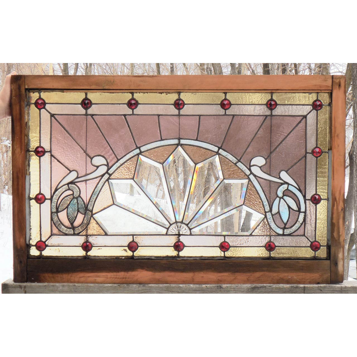 G15007 - Antique Late Victorian Stained and Beveled Glass Window