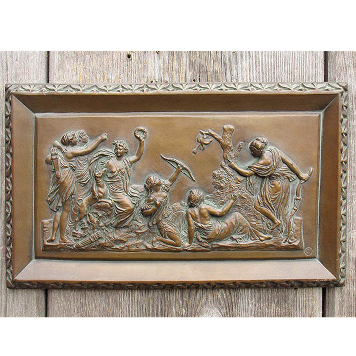 A15013 - Vintage Neoclassical Bronze Patina Resin Plaque
