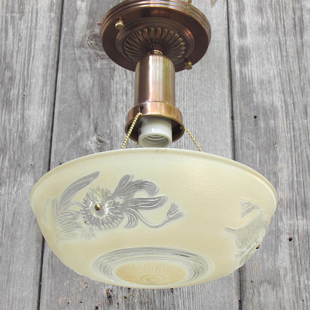 L15291 - Art Moderne Ceiling Light Fixture With Antique Bowl Shade