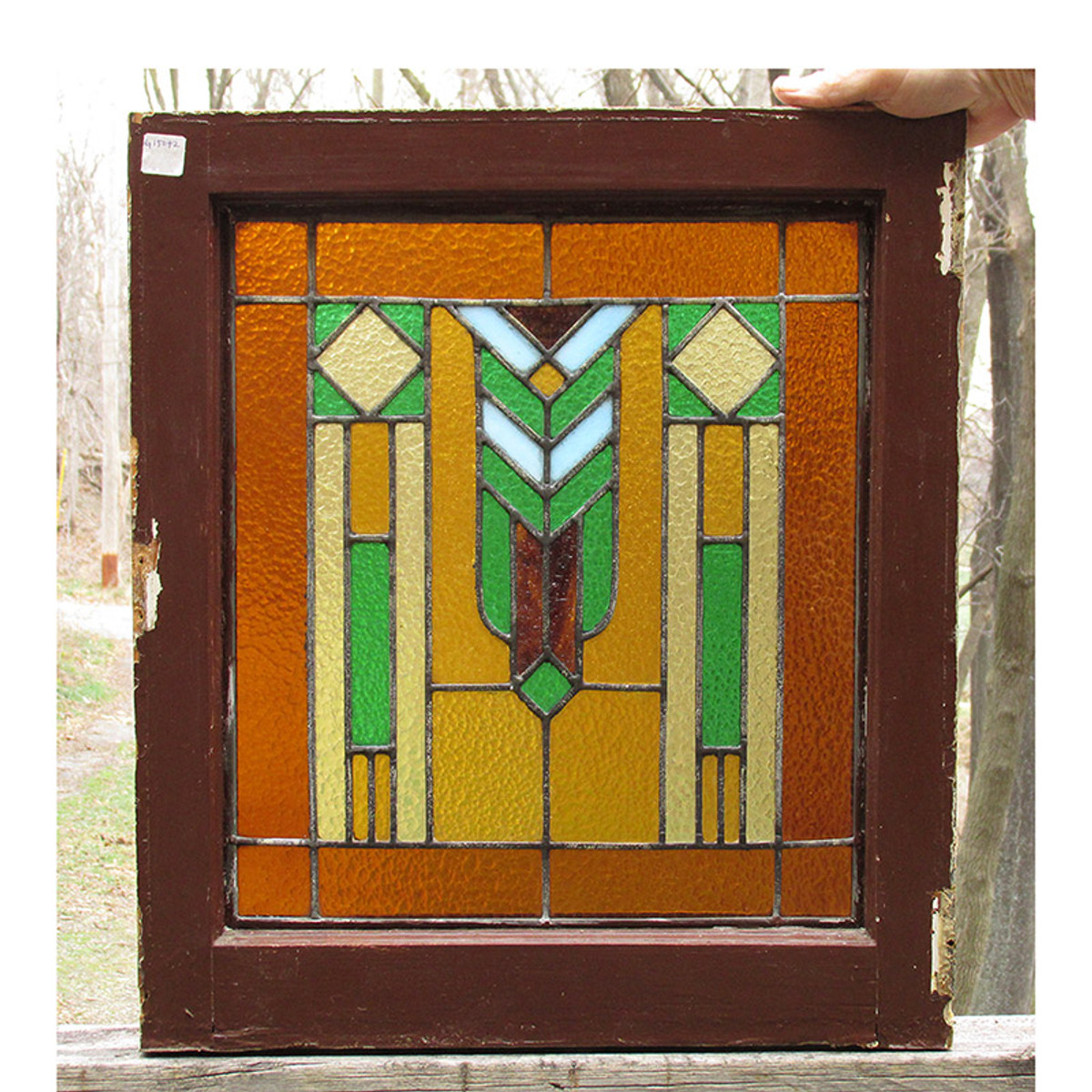 G15072 - Antique Arts & Crafts Stained Glass Window