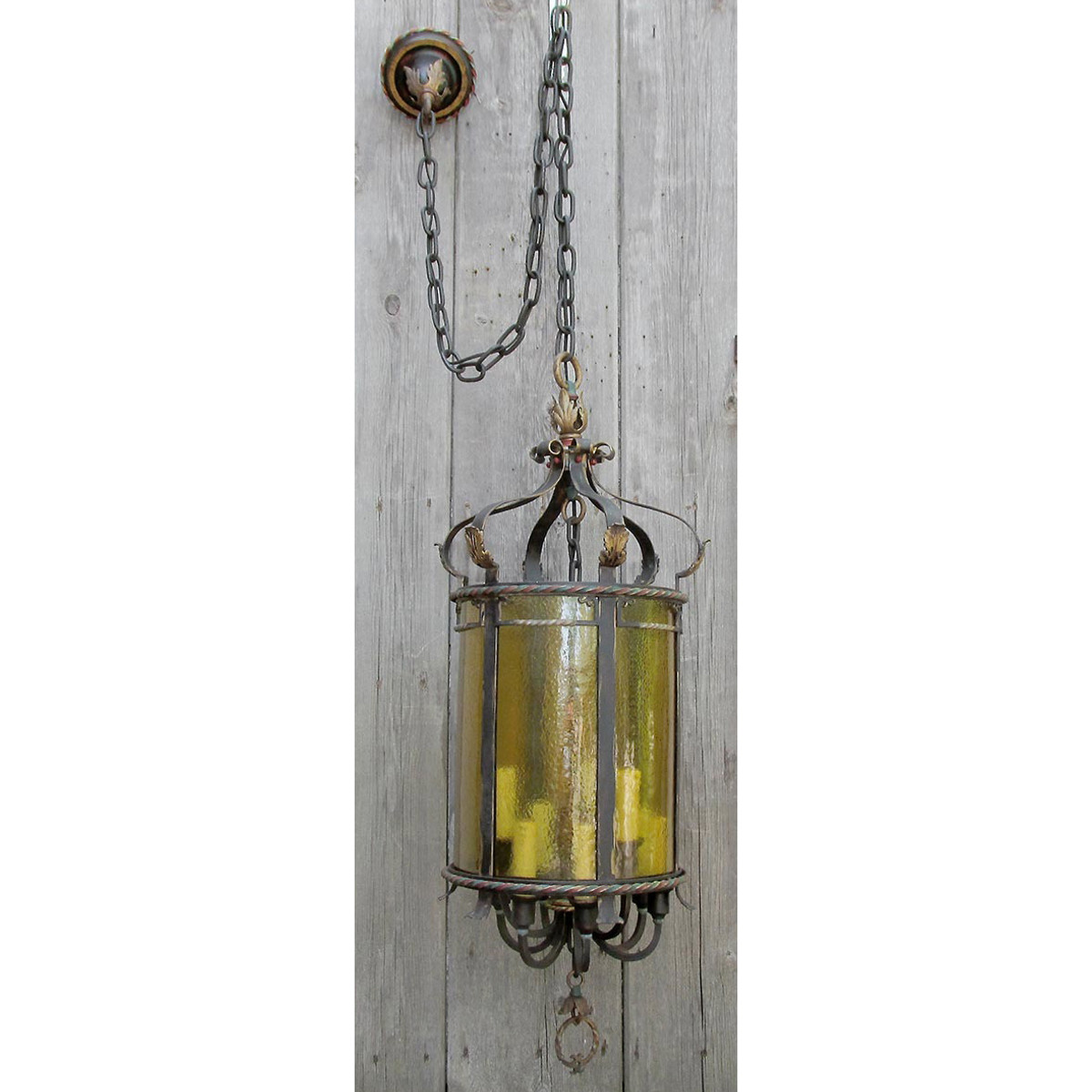 L16142 - Antique Mediterranean Revival Brass and Wrought Iron Hall Lantern