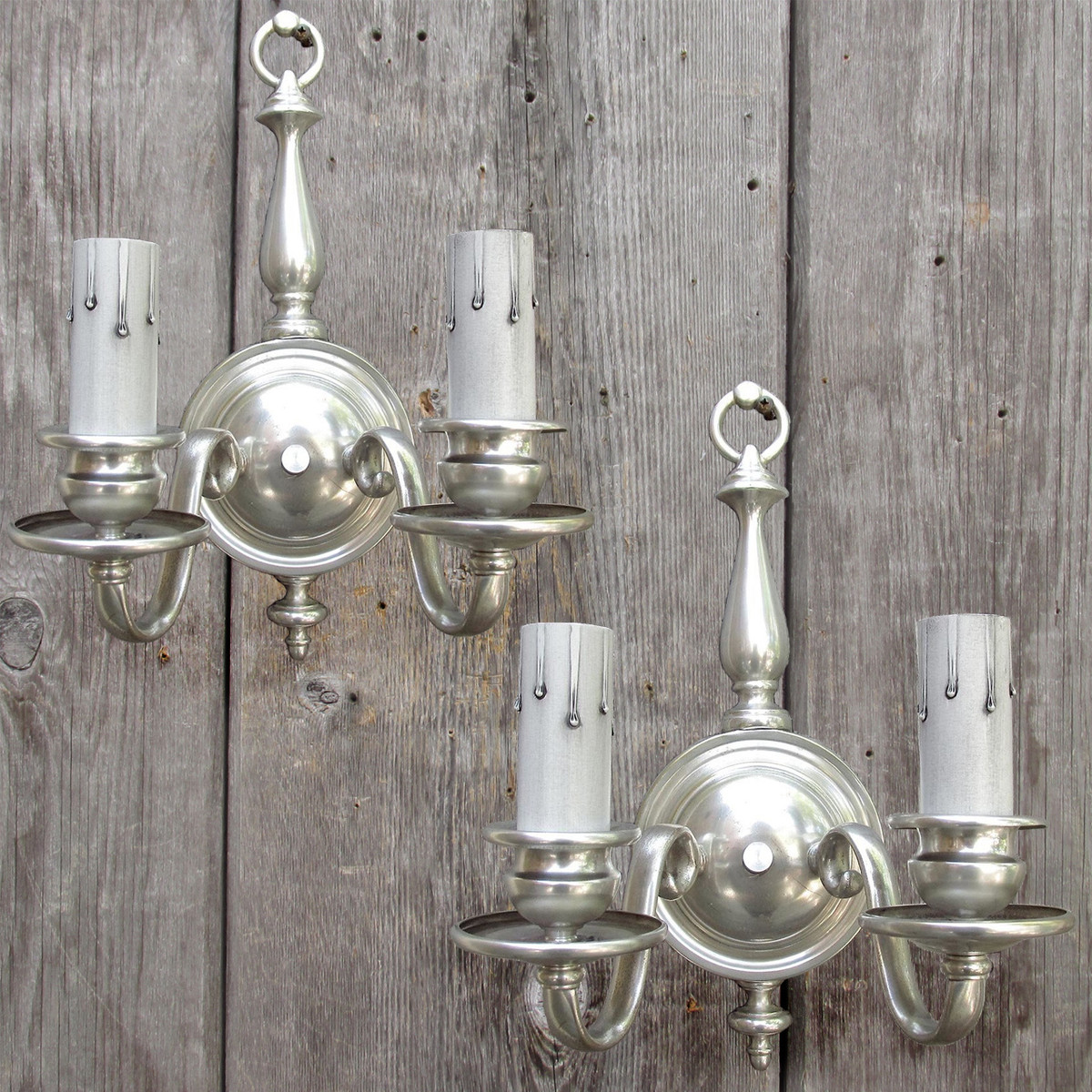 cheap for discount 650f7 3a8e5 L16153 - Pair of Antique Colonial Revival Silver Plated Double Arm Sconces