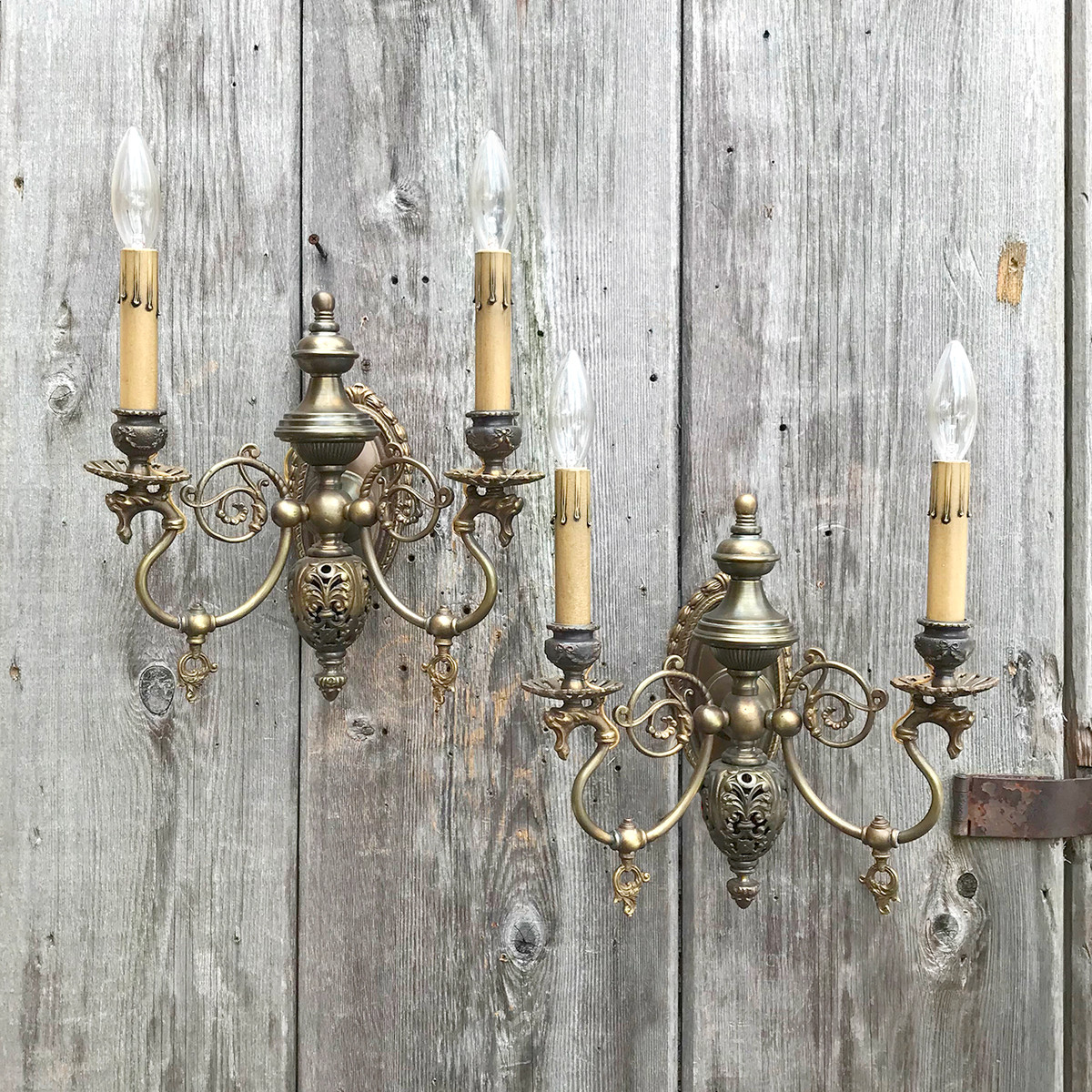 L16155 - Pair of Antique Late Victorian Double Arm Candle Sconces