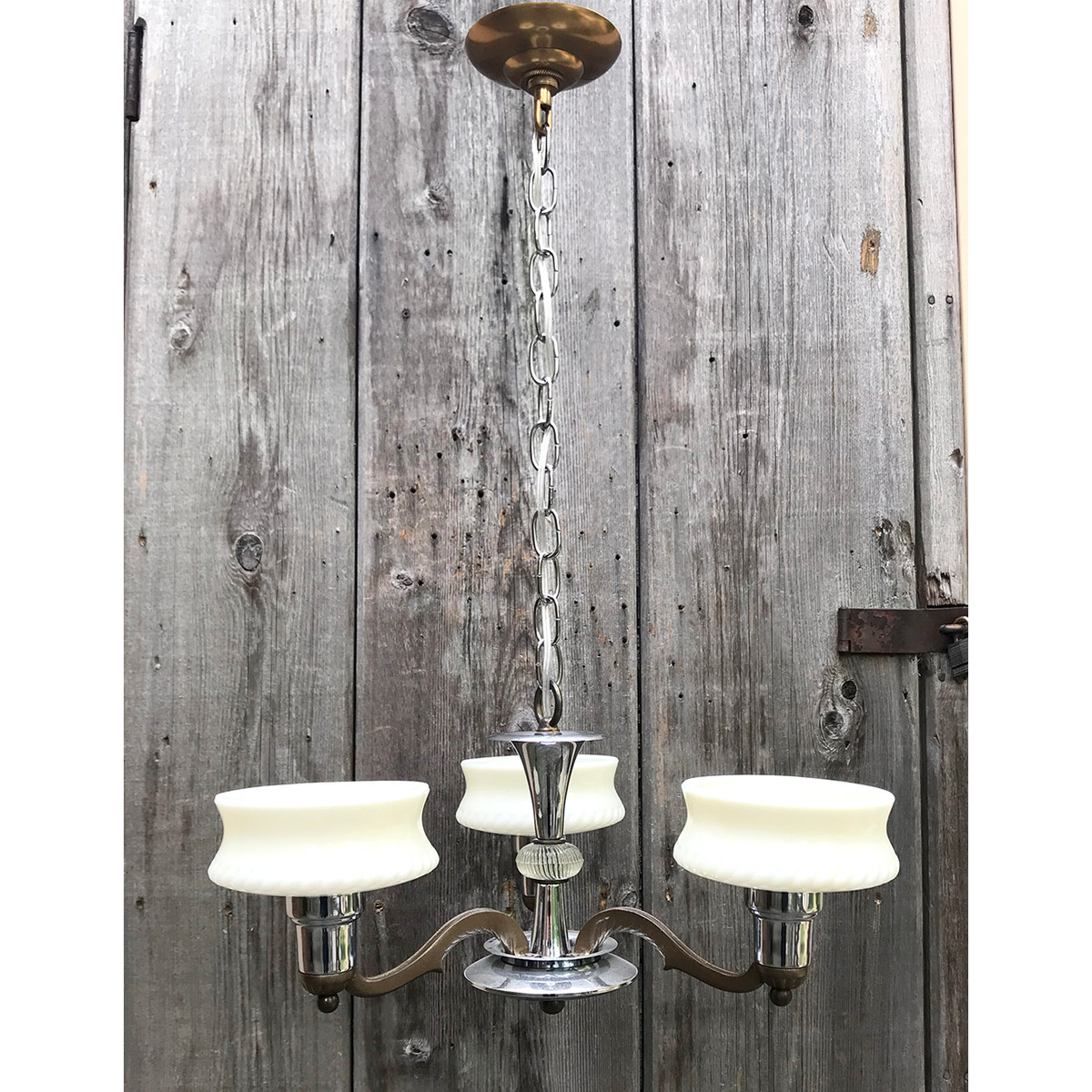 L17135 - Antique Art Moderne Three Light Ceiling Fixture