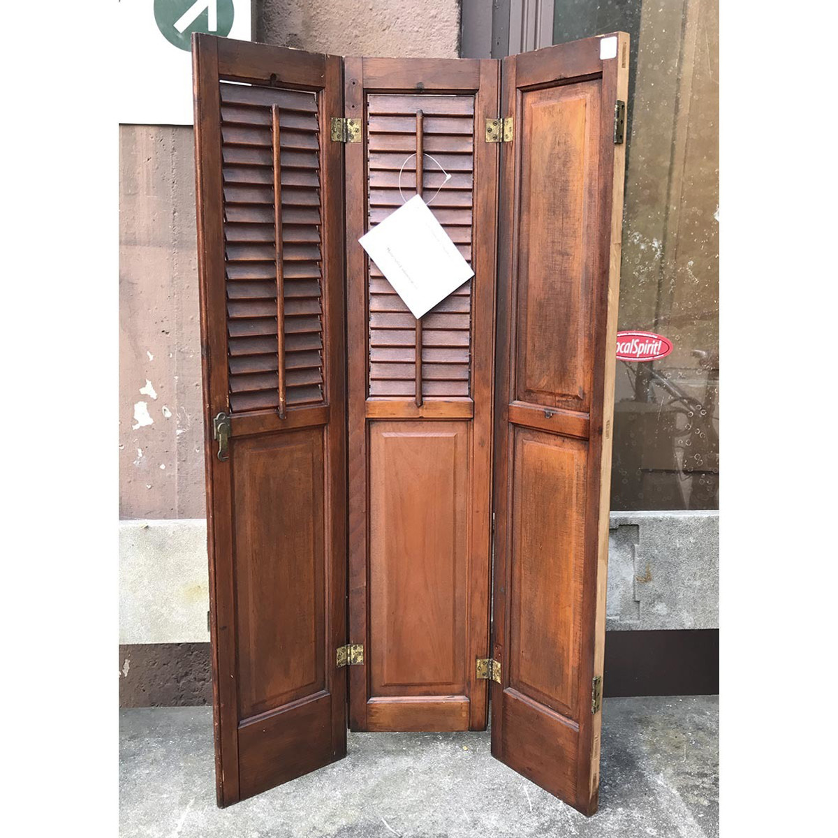 A17063 - Antique Victorian Era Pine Interior Louvered Shutters