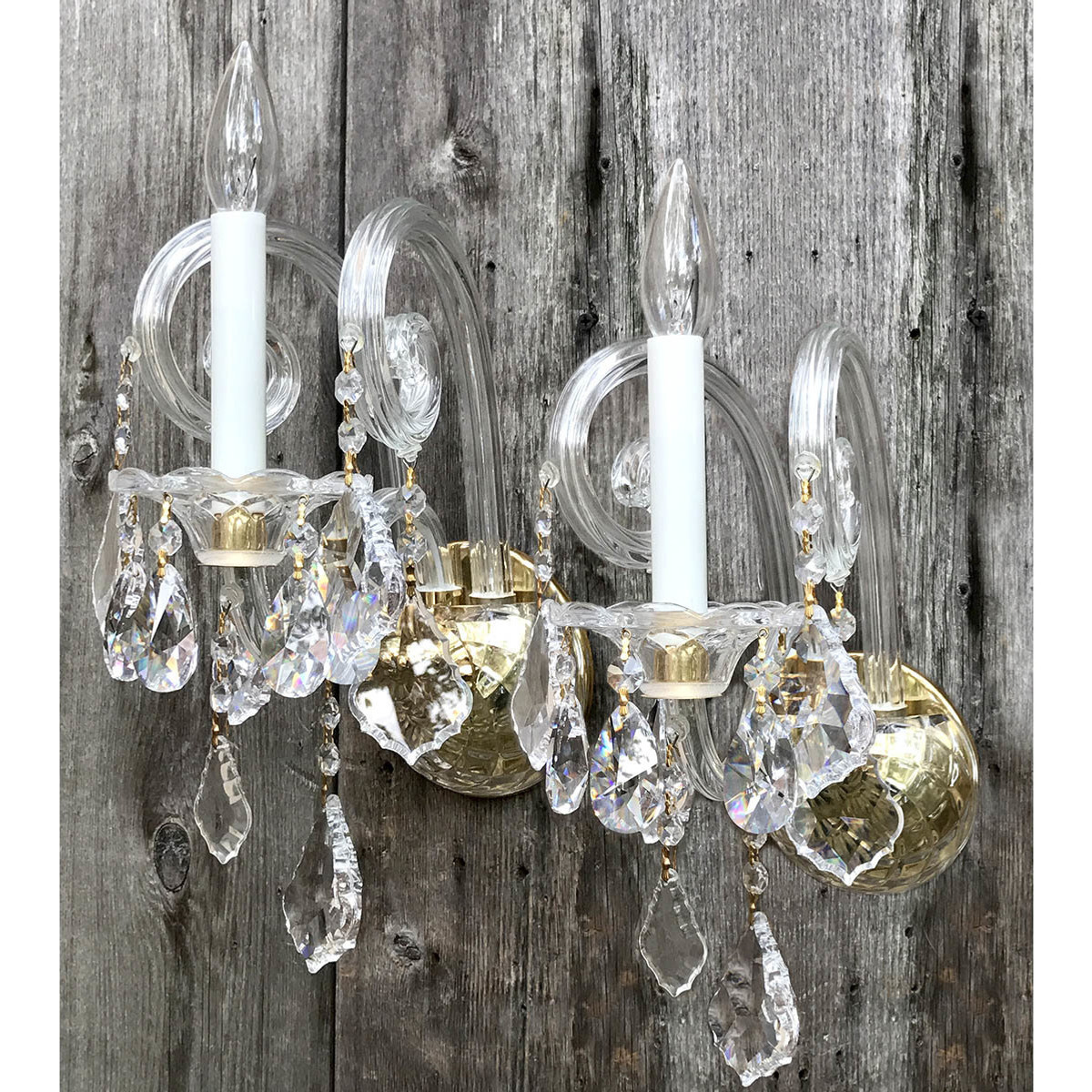 L17189 - Pair of Contemporary Brass and Crystal Candle Sconces