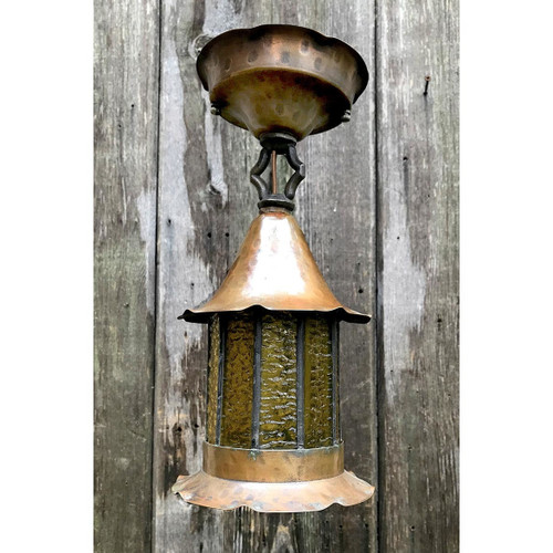 L17217 - Antique Craftsman/Tudor Copper Lantern Exterior Fixture