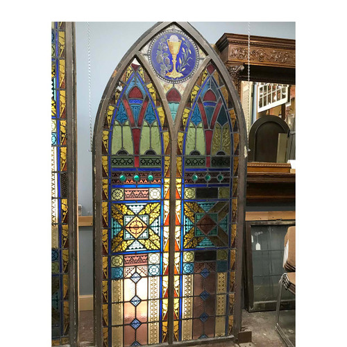 G17073 - Antique Arched Ecclesiastical Painted and Fired Stained Glass Window