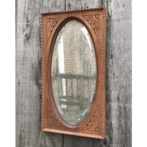 A17118 - Antique Late Victorian Birch Framed Oval Beveled Mirror