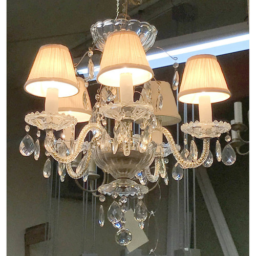 L17262 - Vintage Five Arm Glass & Crystal Fixture