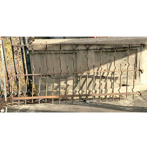 S17078 - Antique Late Victorian Wrought Iron Fence Section