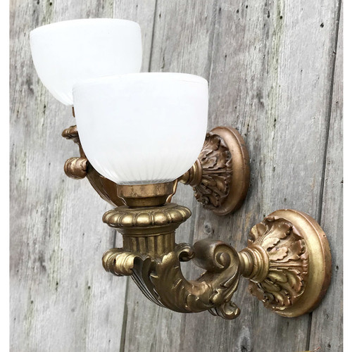 L17286 - Pair of Antique Neoclassical Wall Sconces With Etched Opal Shades