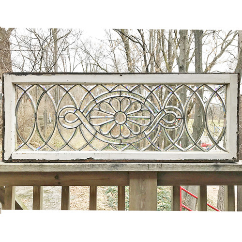 G18002 - Antique Late Victorian Full Beveled Glass Transom Window