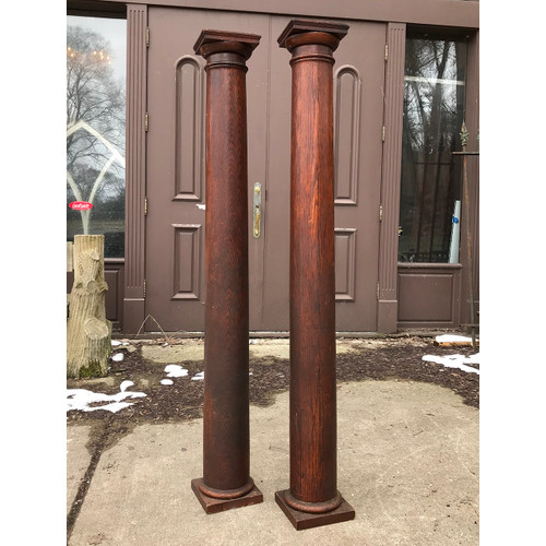 S18002 - Pair of Antique Colonial Revival Oak Interior Columns